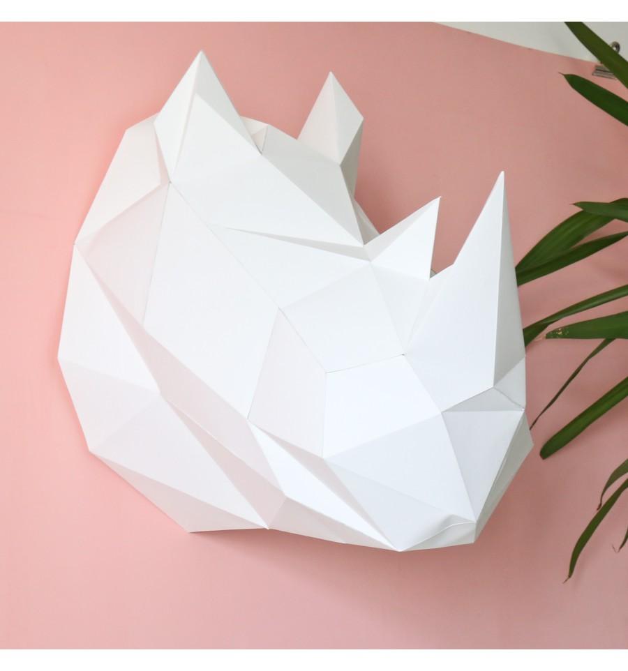 Kit De Pliage Papier Troph E Rhinoc Ros Blanc