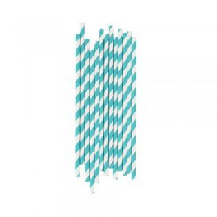 25 pailles en papier rayures turquoises My little day