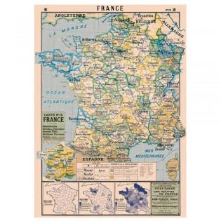 Affiche pédagogique vintage Carte de France