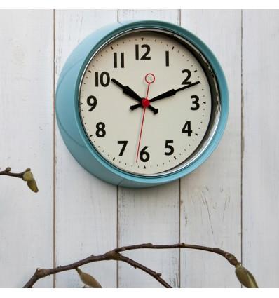 Horloge murale rétro bleu