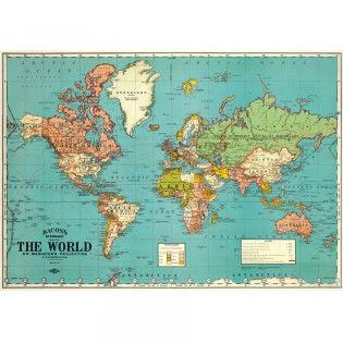 Affiche Carte du monde vintage The World bleue