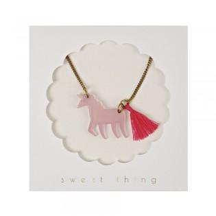 Collier licorne rose Meri Meri
