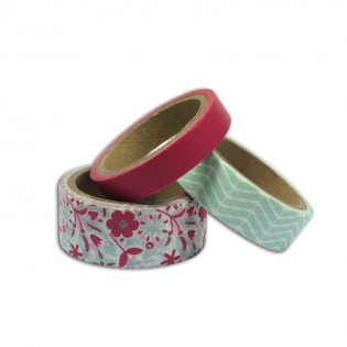 Lot de 3 Masking tape mint et corail Toga