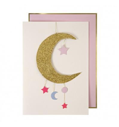 Carte avec mobile Lune dorée