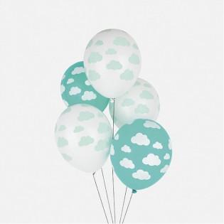 5 ballons nuages acqua bleu