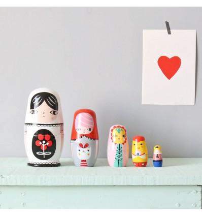 Gigognes poupées colorées en bois Helen Dardik