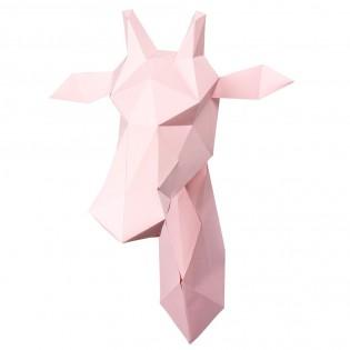 Kit de pliage papier girafe rose - Trophée assembli