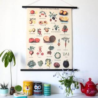 Affiche pédagogique fruits et légumes - Cavallini & Co