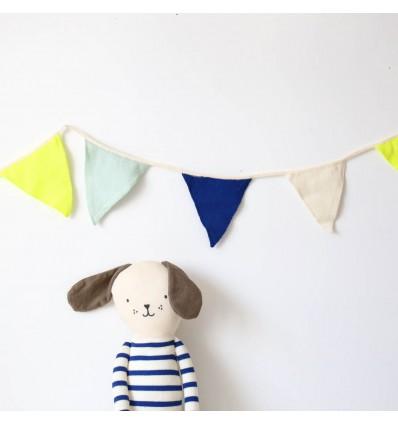 Guirlande Fanions bleu et jaune fluo - Meri meri