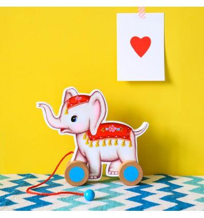 Elephant à roulettes en bois - Kitsch Kitchen