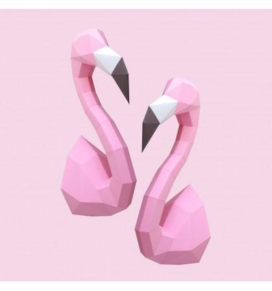 Kit de pliage papier trophée flamants roses - Trophée assembli