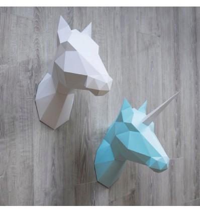 Kit de pliage papier trophée Cheval Licorne blanc - Assembli