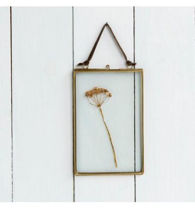 Petit cadre en verre et laiton doré 10 x 15 cm