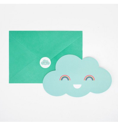 8 invitations Nuages My Little day