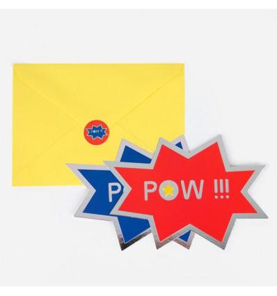 8 invitations Super-héros Pow - My Little day