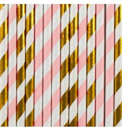 25 pailles en papier rayures roses et doré My little day