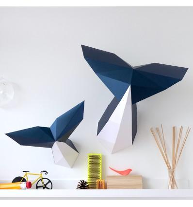 Kit de pliage papier baleines - Trophée assembli