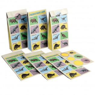 6 pochettes cadeau en papier dinosaures