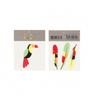 Tatouages toucan et plumes Meri Meri