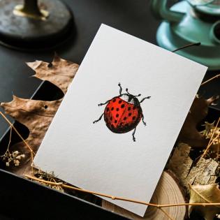 Carte Letterpress Coccinelle