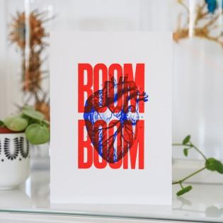 Carte sérigraphiée BOOM BOOM - Rouge