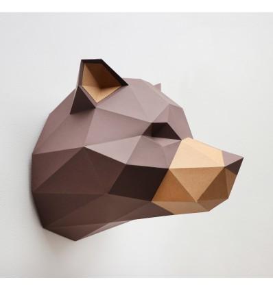 Kit de pliage papier trophée Grizzly - Trophée papier assembli