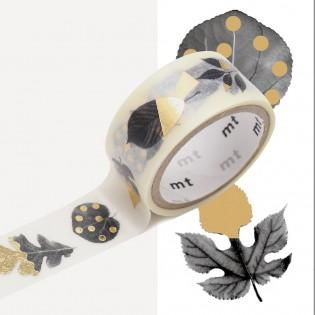 Masking tape Fab métalisé motifs feuilles / leaves