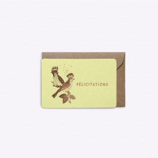 Mini carte Félicitations jaune - Editions du Paon