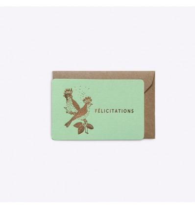 Mini carte Félicitations mint - Editions du Paon