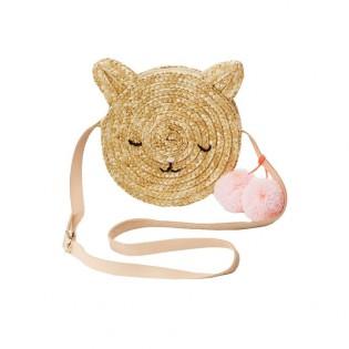 Sac chat en paille et lanière en cuir - Meri Meri