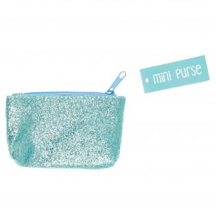 Mini porte monnaie paillettes Turquoise