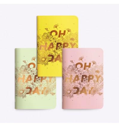Set de 3 petits carnets Happy Day - Editions du Paon