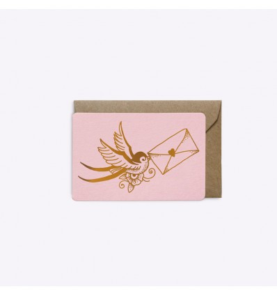 Mini carte Love Letter rose - Editions du Paon