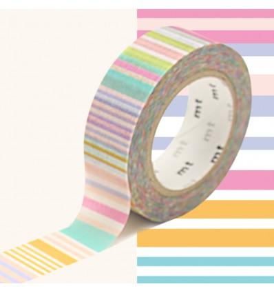 Masking tape multi lignes pastel