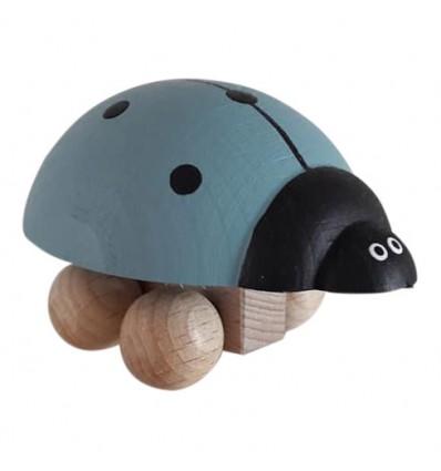 Coccinelle en bois à roulettes BLEUE
