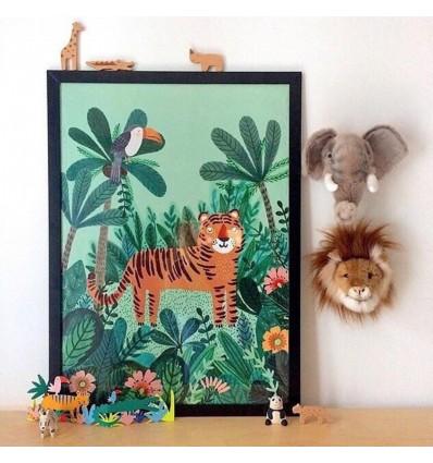 Affiche Tigre dans la jungle de Rebecca Jones