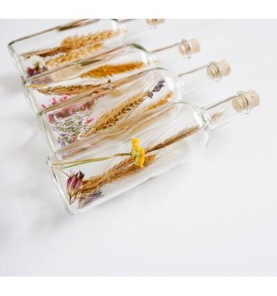 Fleurs séchées - bouteille en verre