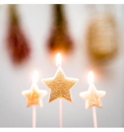 3 bougies étoiles pailletées