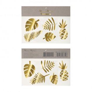 Tatouages éphémères tropicaux dorés - Meri Meri