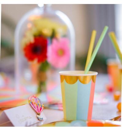 8 gobelets en carton Berlingot multicolore
