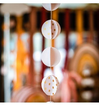 Guirlande cercles 3D pois dorés - Artyfete
