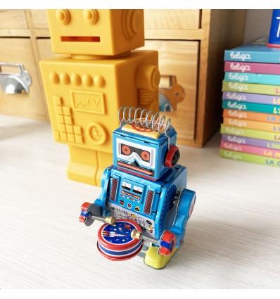 Robot tambour bleu vintage
