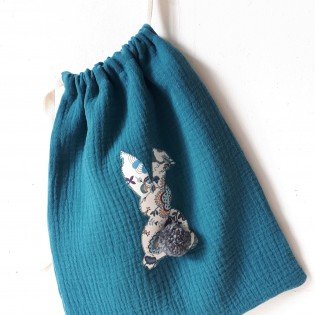 Petit sac lapin double gaze Bleu canard