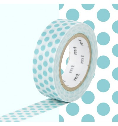 Masking Tape Pois bleu lagon
