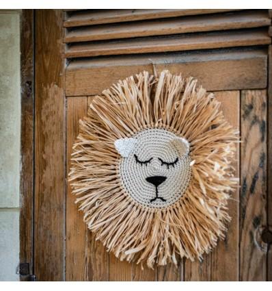 Grande tête de lion en raphia