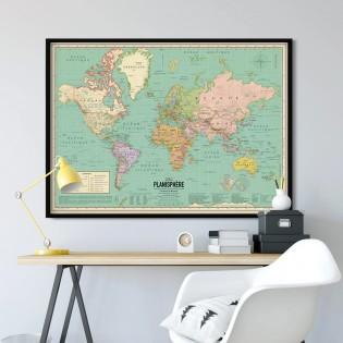 Grande carte du monde 2021 XL - Style vintage
