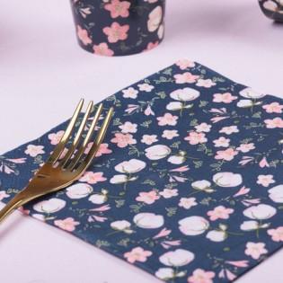 16 serviettes en papier Lovely Flowers Marine