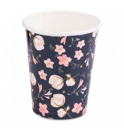8 gobelets en carton Lovely Flowers Marine