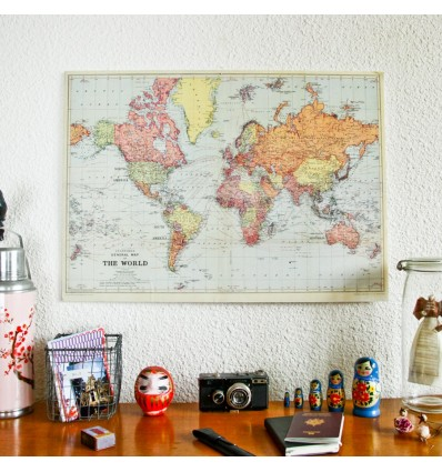 Carte du monde vintage ancienne affiche réedition - Cavallini & Co