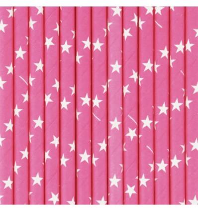 25 pailles fuchsia étoiles blanches